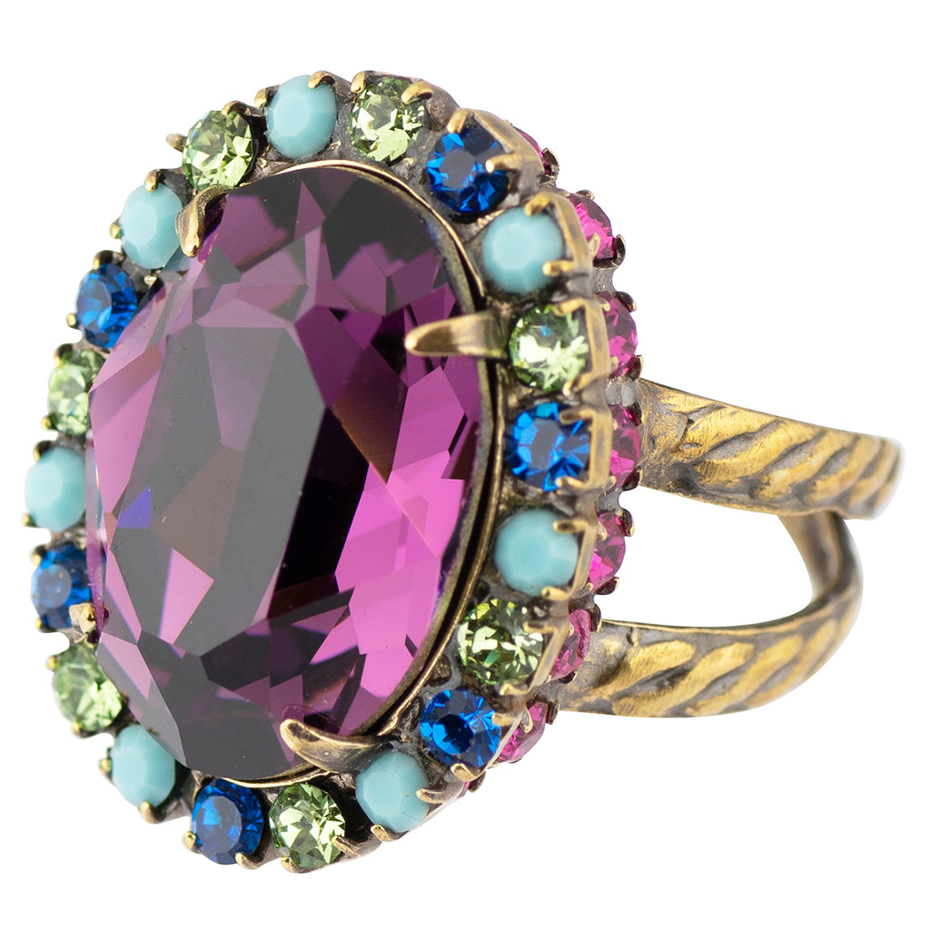 Sorrelli Southwest Brights Antique Gold Plated Glamorous Oval-Cut Crystal Ring