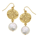 Susan Shaw Gold Bee and Coin Pearl Earrings