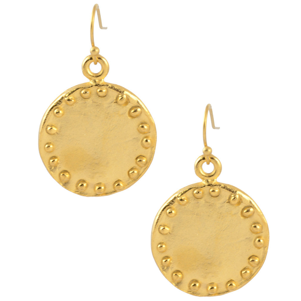 Susan Shaw Gold Plated Studded Round Circle Dangle Earrings