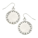 Susan Shaw Handcast Silver Plated Round Dotted Dangle Earrings
