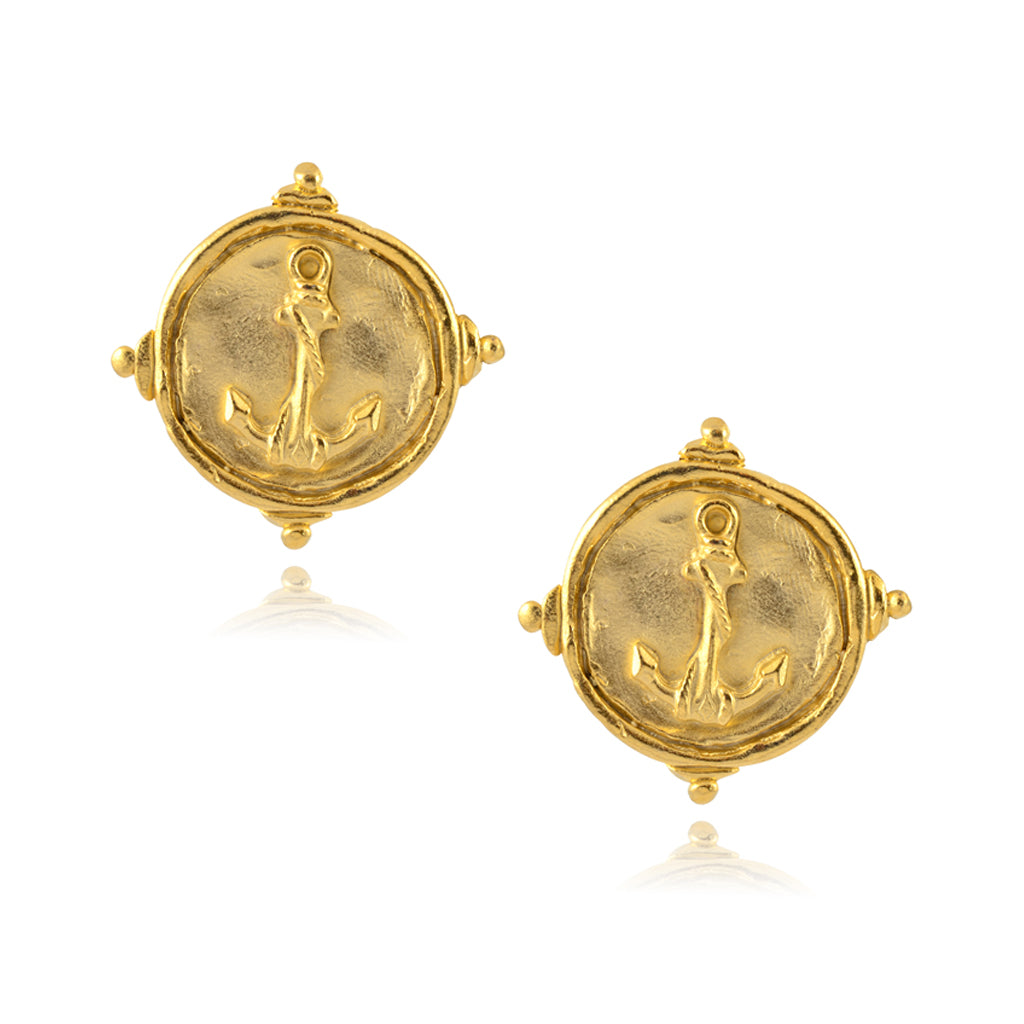Susan Shaw Handcast Gold Anchor Post Earrings
