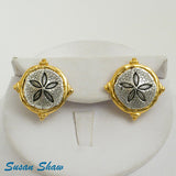 Susan Shaw Jewelry Sand Dollar Stud Earrings, Sealife Themed in Gold