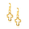 Susan Shaw Handcast Cutout Cross Stud Earrings with Curved Dangles, Gold Plated