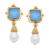 Susan Shaw Handcast Gold Plated Square Crystal and Pearl Stud Earrings