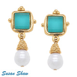 Susan Shaw Handcast Gold Earrings with Teal French Glass and Genuine Freshwater Pearl Drop
