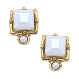 Susan Shaw Handcast Gold Plated Square Crystal CLIP Earrings