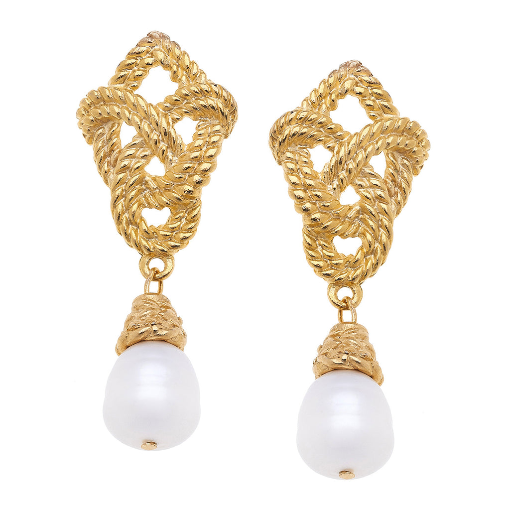 Susan Shaw Handcast Gold Plated Rope and Pearl Stud Earrings