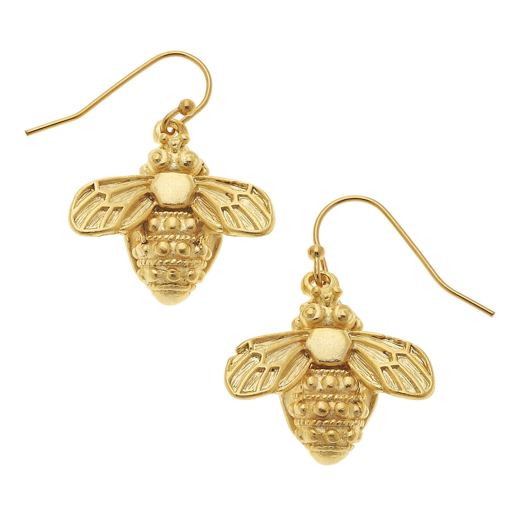 Susan Shaw Bee Dangle Earrings, Gold Plated on Drop