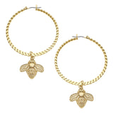 Susan Shaw Handcast Gold Plated Bee Hoop Earrings