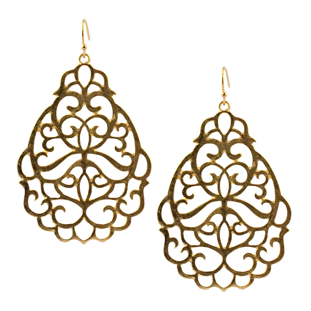 Susan Shaw Gold Plated Oval Filigree Dangle Earrings