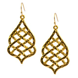 Susan Shaw Gold Plated Pointed Lattice Filigree Dangle Earrings