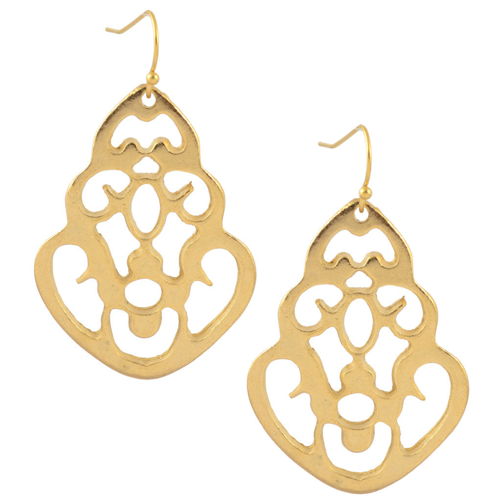 Susan Shaw Gold Plated Filigree Bell Dangle Earrings