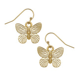 Susan Shaw Gold Butterfly Dangle Earrings