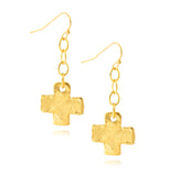 Susan Shaw Gold Plated Link Cross Dangle Earrings