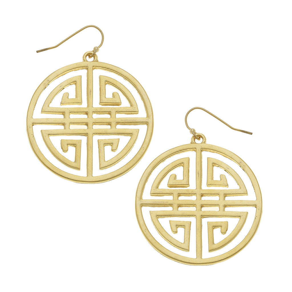 Susan Shaw Jewelry Medallion Earrings in Gold