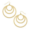 Susan Shaw Jewelry Circle Earrings, 3 Circles in Gold