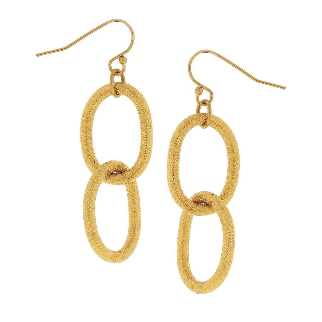 Susan Shaw Gold Chain Dangle Earrings