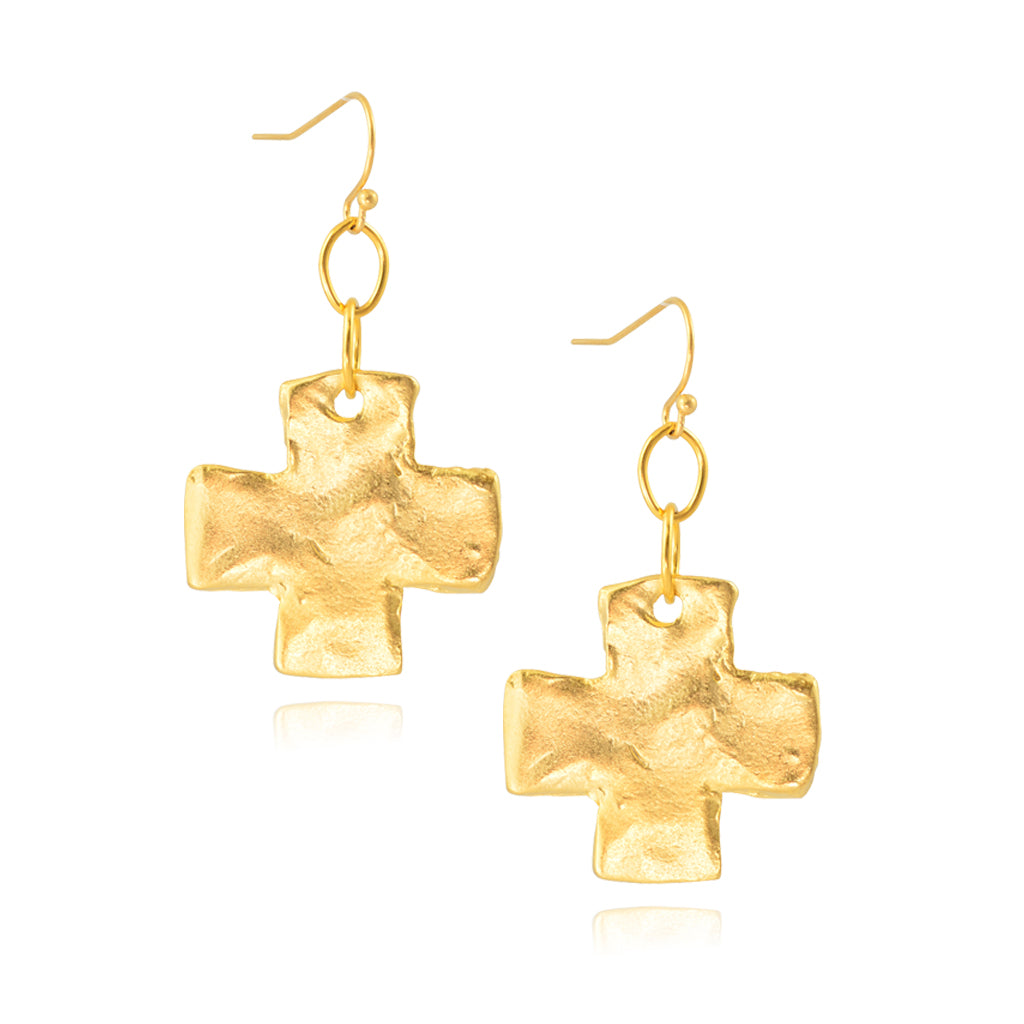 Susan Shaw Handcast Gold Plated Cross Dangle Earrings