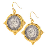Susan Shaw Silvertone French Coin Dangle Earrings, Gold Plated Setting