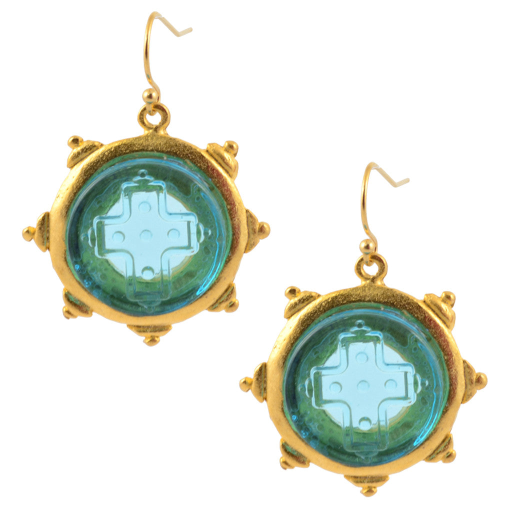Susan Shaw Gold Plated Blue Glass Etched Cross Dangle Earrings