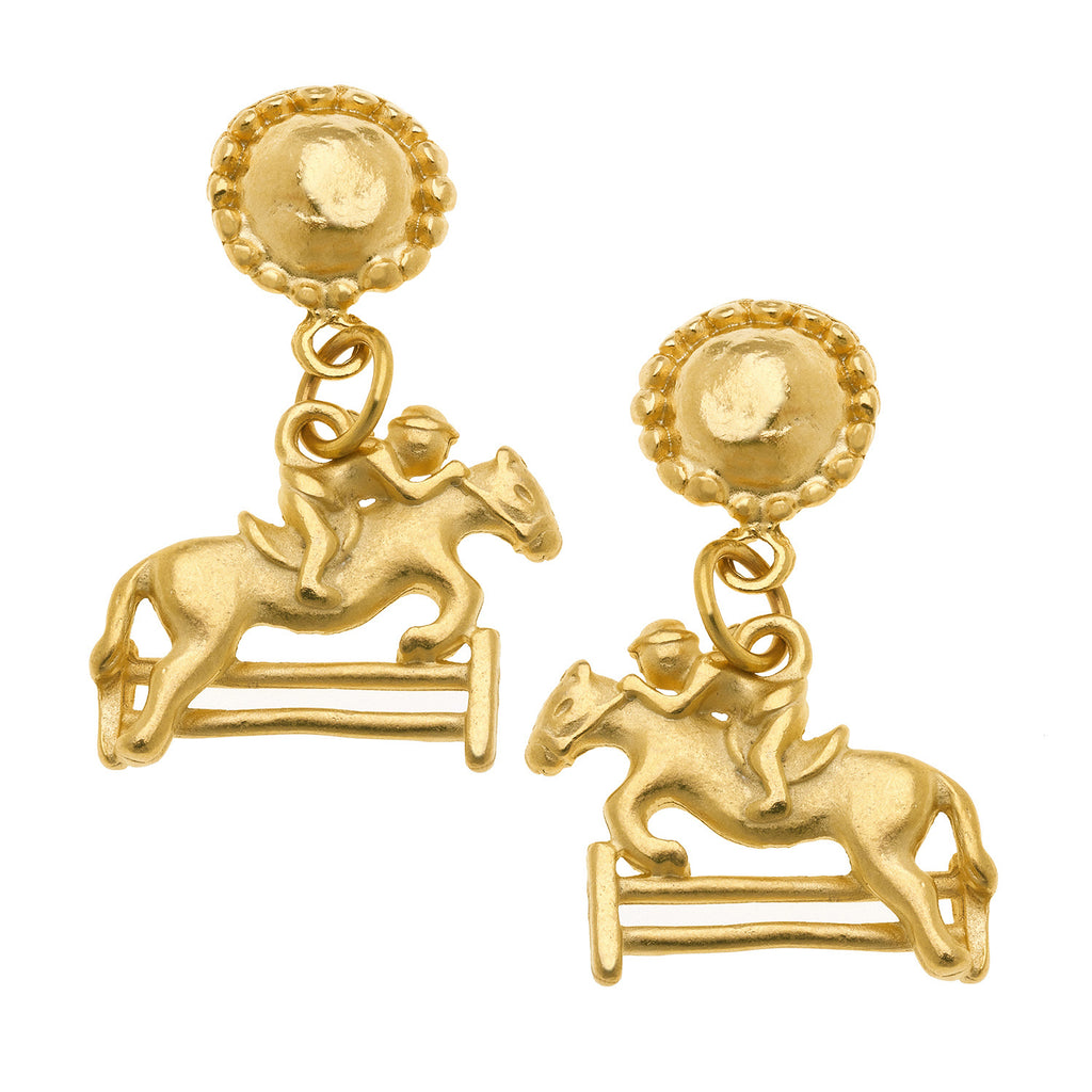 Susan Shaw Handcast Gold Plated Jumping Horse Stud Earrings