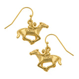 Susan Shaw Handcast Gold Plated Horse Racing Dangle Earrings