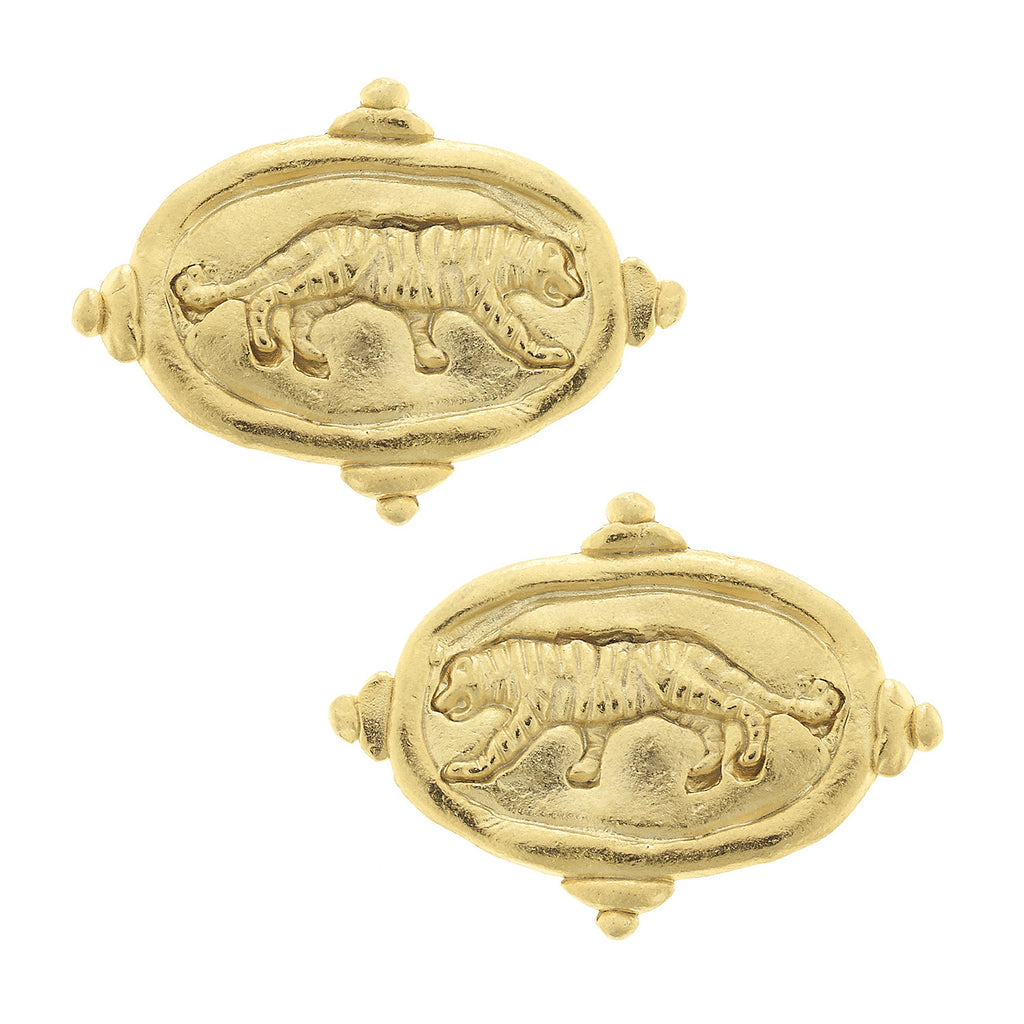 Susan Shaw Handcast Tiger Stud Earrings, Gold Plated