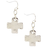 Susan Shaw Silver Plated Greek Cross Dangle Earrings