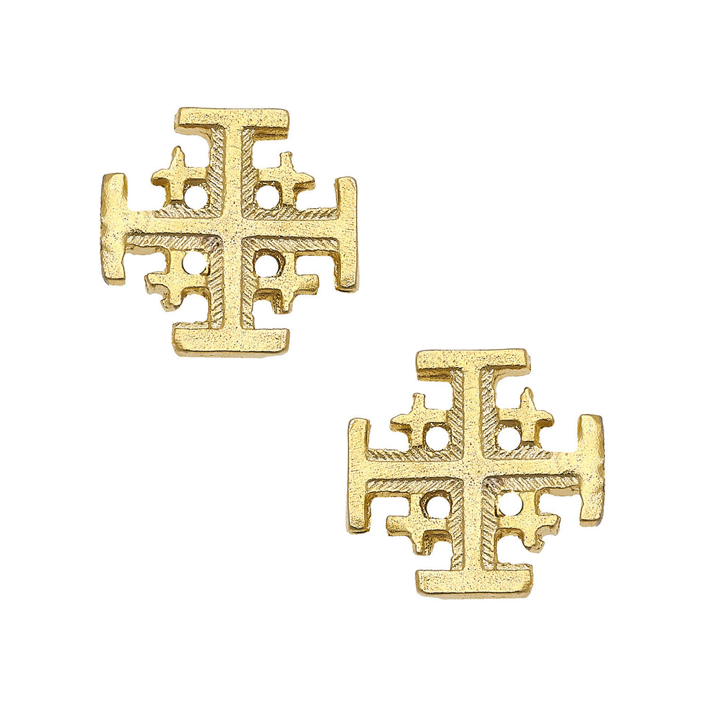 Susan Shaw Gold Multi Cross Stud Earrings