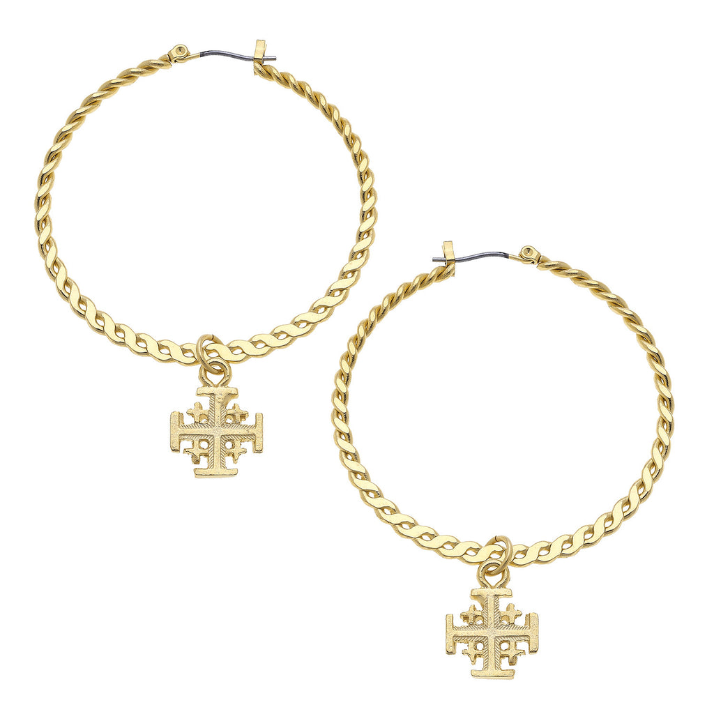 Susan Shaw Handcast Gold Plated Cross Hoop Earrings