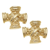 Susan Shaw Jewelry Cross Stud Earrings, Vintage Square French Cross in Gold