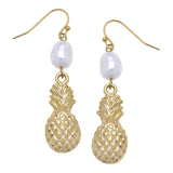 Susan Shaw Handcast Gold Plated Pineapple and Pearl Dangle Earrings