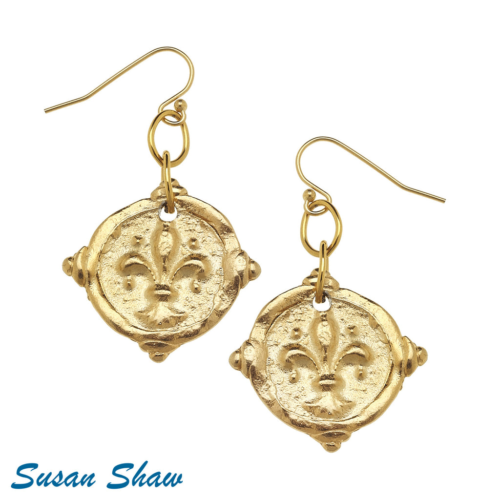 "Susan Shaw Handcast Gold ""Fleur de Lis"" Intaglio Earrings"