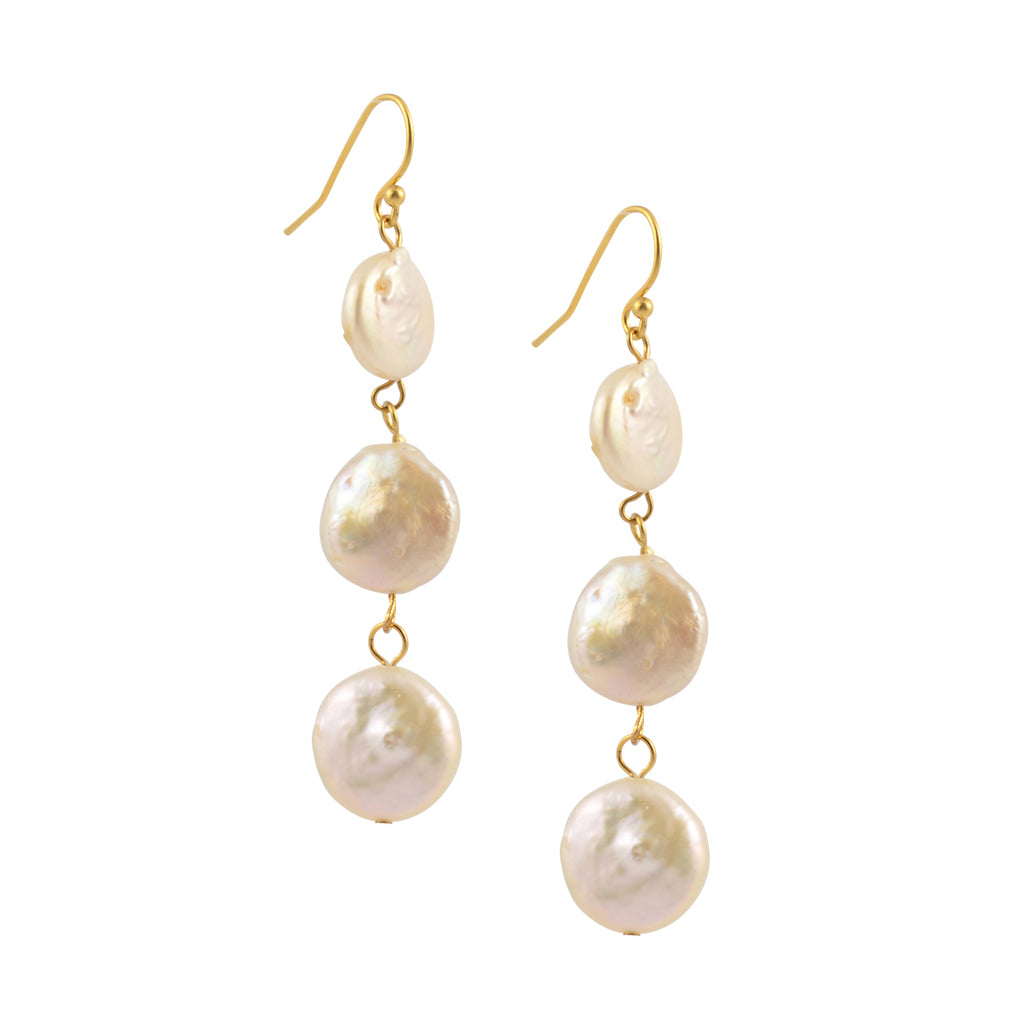 Susan Shaw Gold Plated 3 White Coin Pearl Dangle Earrings