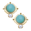 Susan Shaw Handcast Gold Plated Round Crystal Stud Earrings