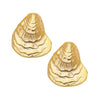 Susan Shaw Handcast Gold Plated Oyster Stud Earrings