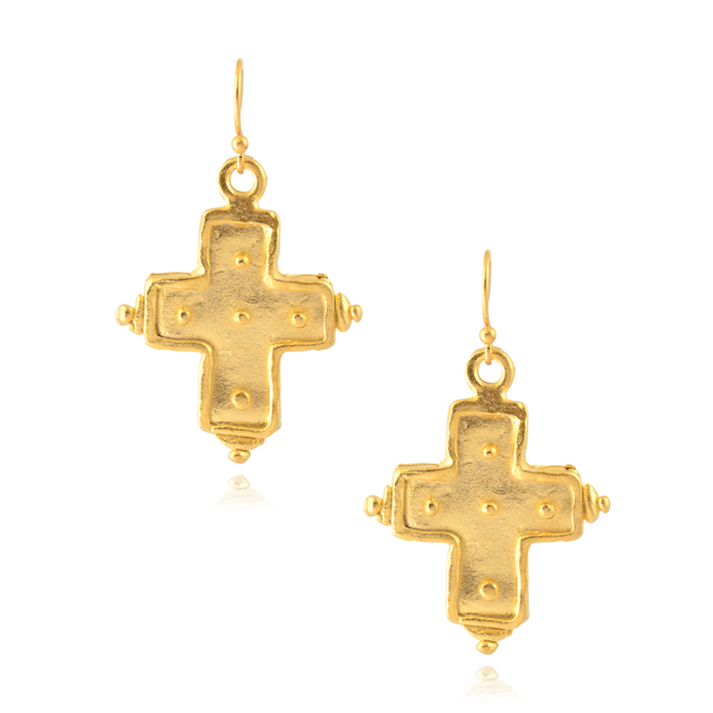 Susan Shaw Gold Plated Dotted Cross Dangle Earrings