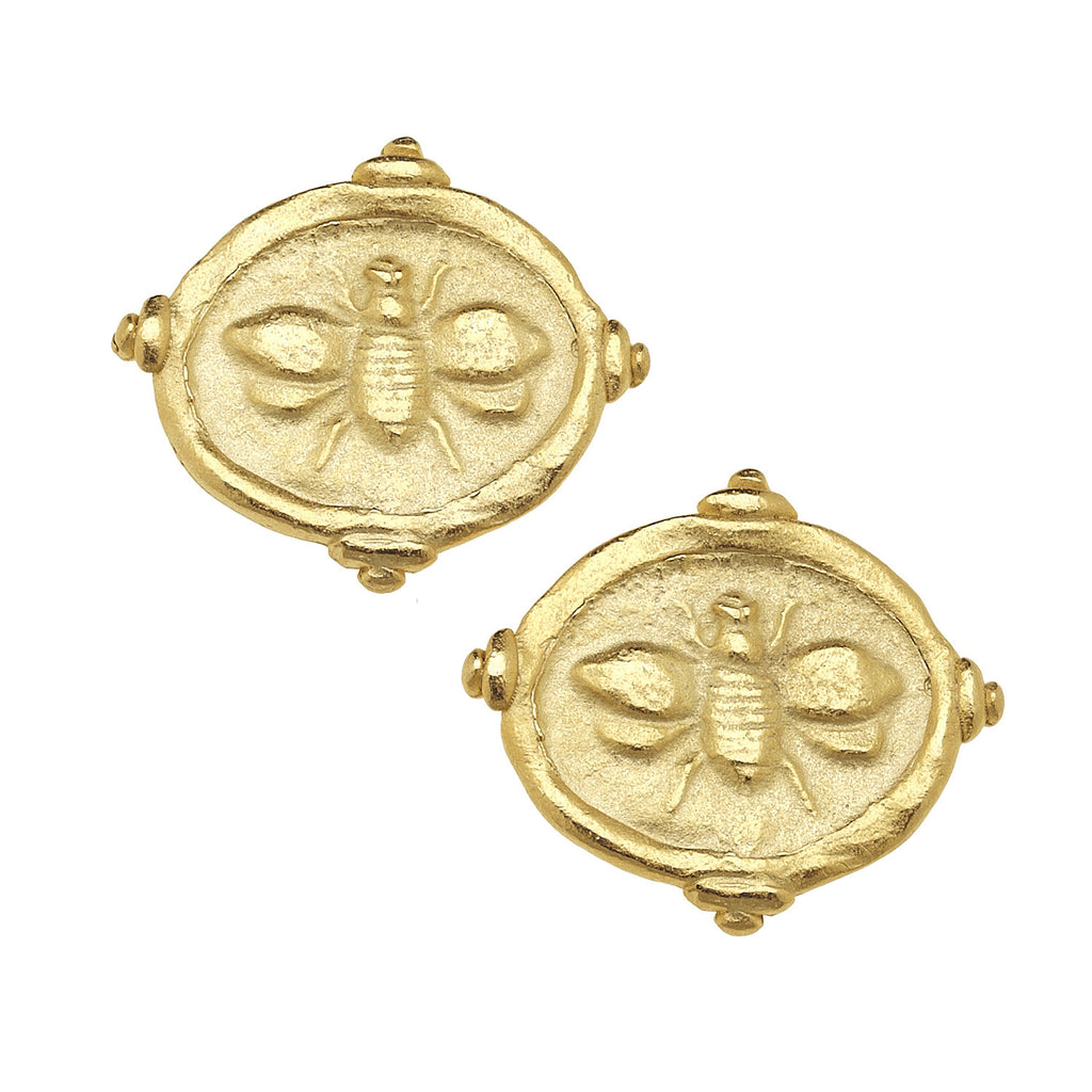 Susan Shaw Jewelry Bee Coin Earrings in Gold