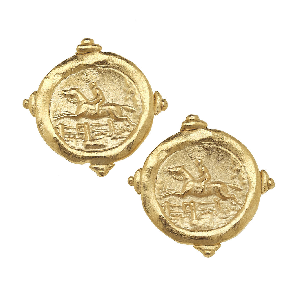 Susan Shaw Horse Racing Gold Intaglio Stud Earrings