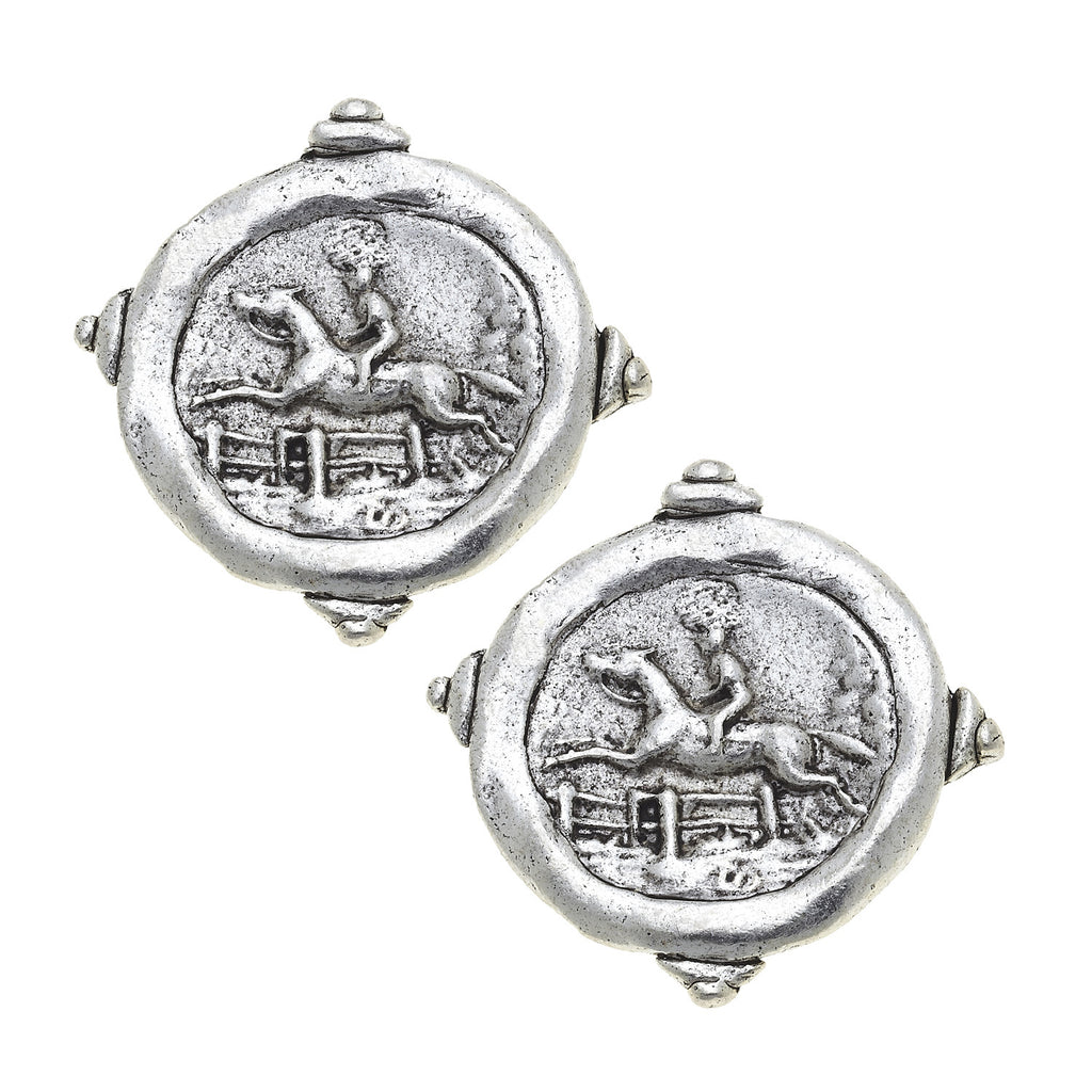 Susan Shaw Horse Racing Silver Intaglio Stud Earrings