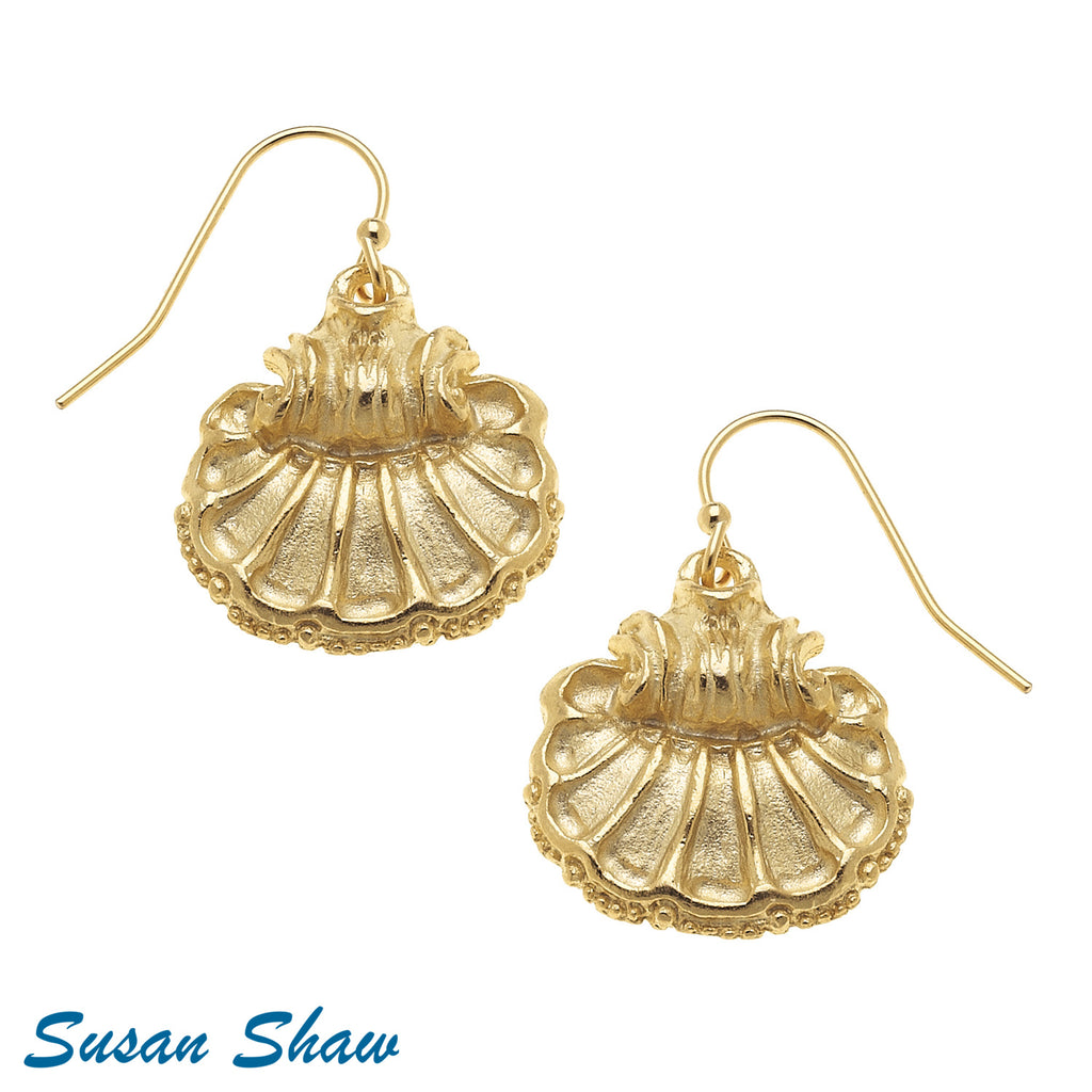 Susan Shaw Handcast Gold Scallop Shell Earrings