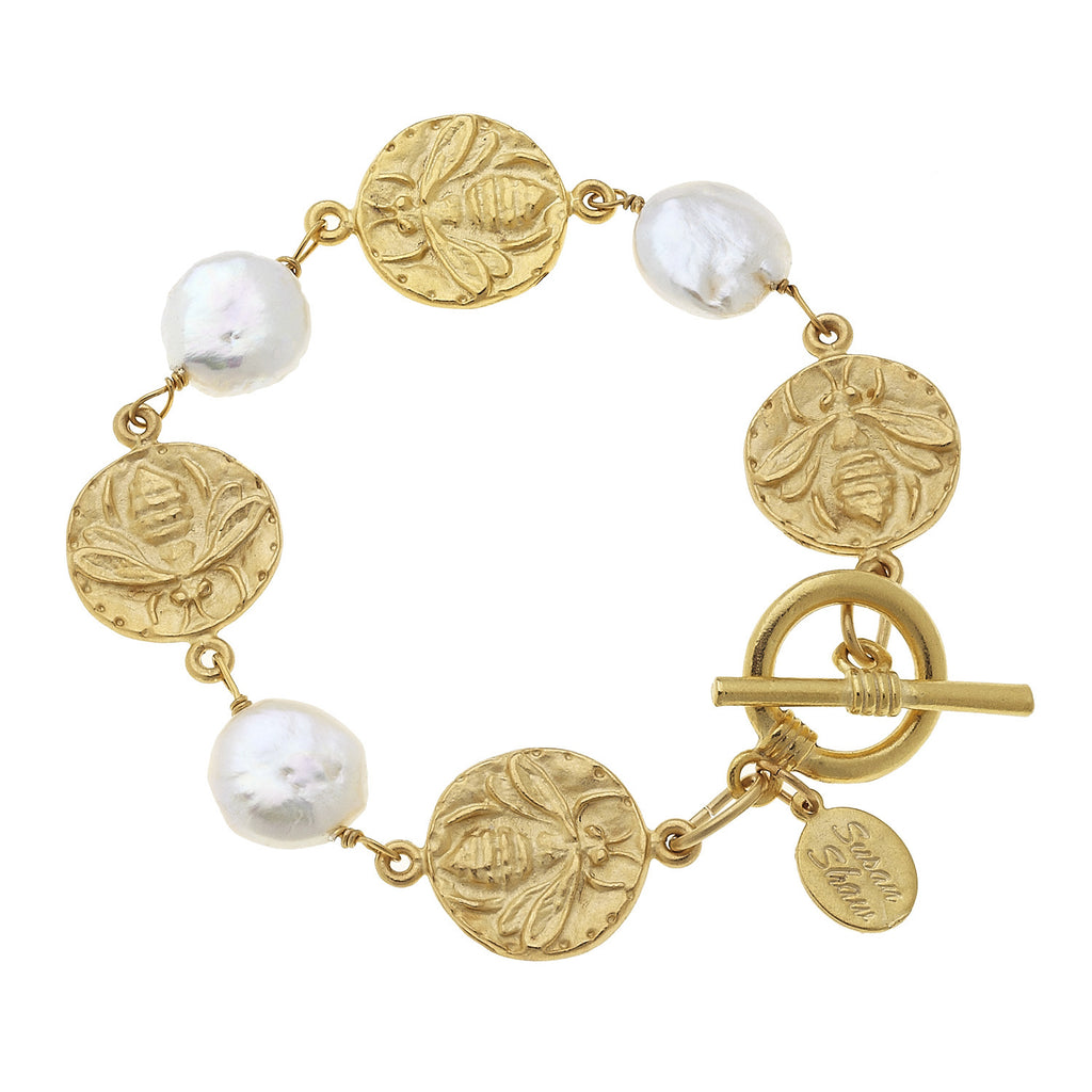 Susan Shaw Gold Bee and Coin Pearl Bracelet