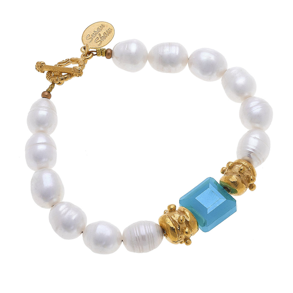 Susan Shaw Square Crystal and Freshwater Pearl Tennis Bracelet with Toggle Clasp, Gold Plated 8""