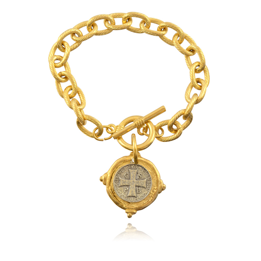 Susan Shaw Italian Intaglio Cross Chain Bracelet, Gold/Silver Plated 8""