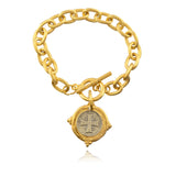 Susan Shaw Italian Intaglio Cross Chain Bracelet, Gold/Silver Plated 8