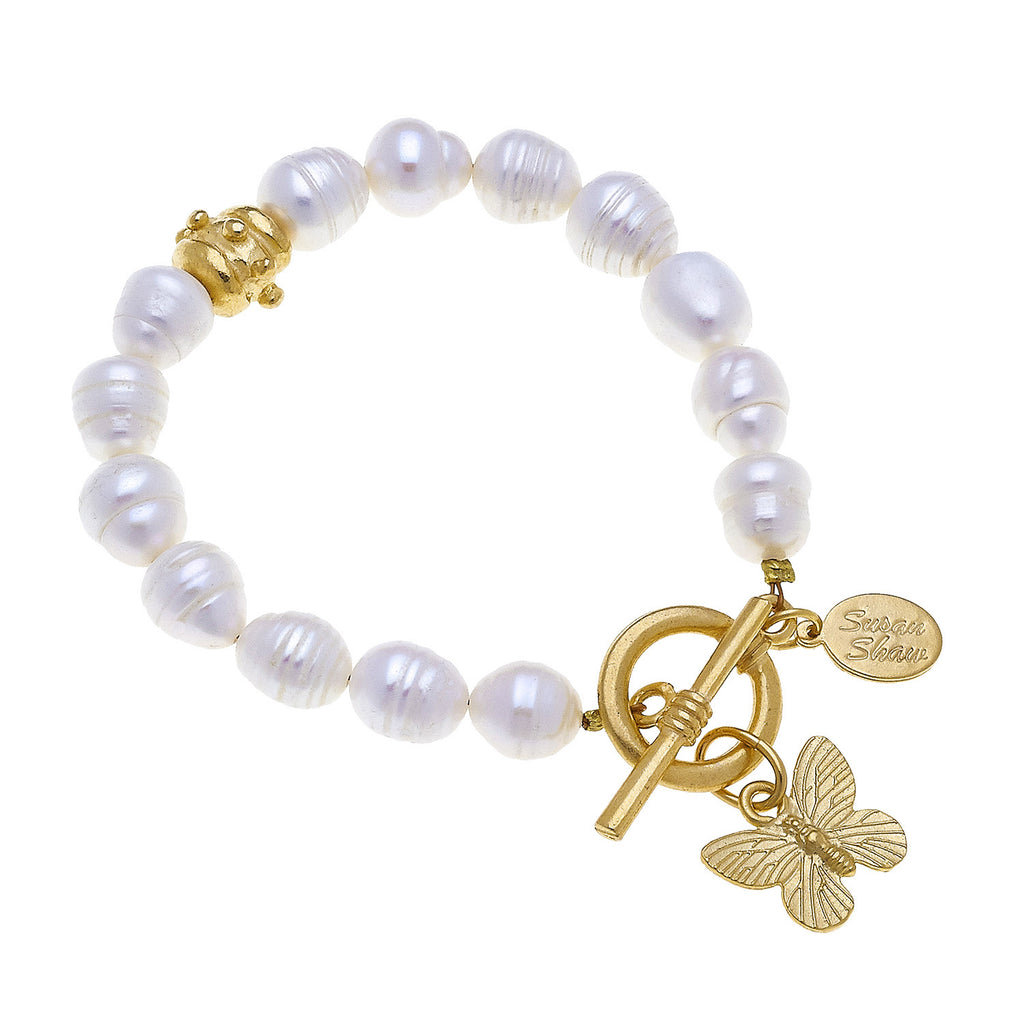 Susan Shaw Butterfly Freshwater Pearl Tennis Bracelet with Toggle Clasp, Gold Plated 8""
