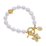 Susan Shaw Butterfly Freshwater Pearl Tennis Bracelet with Toggle Clasp, Gold Plated 8