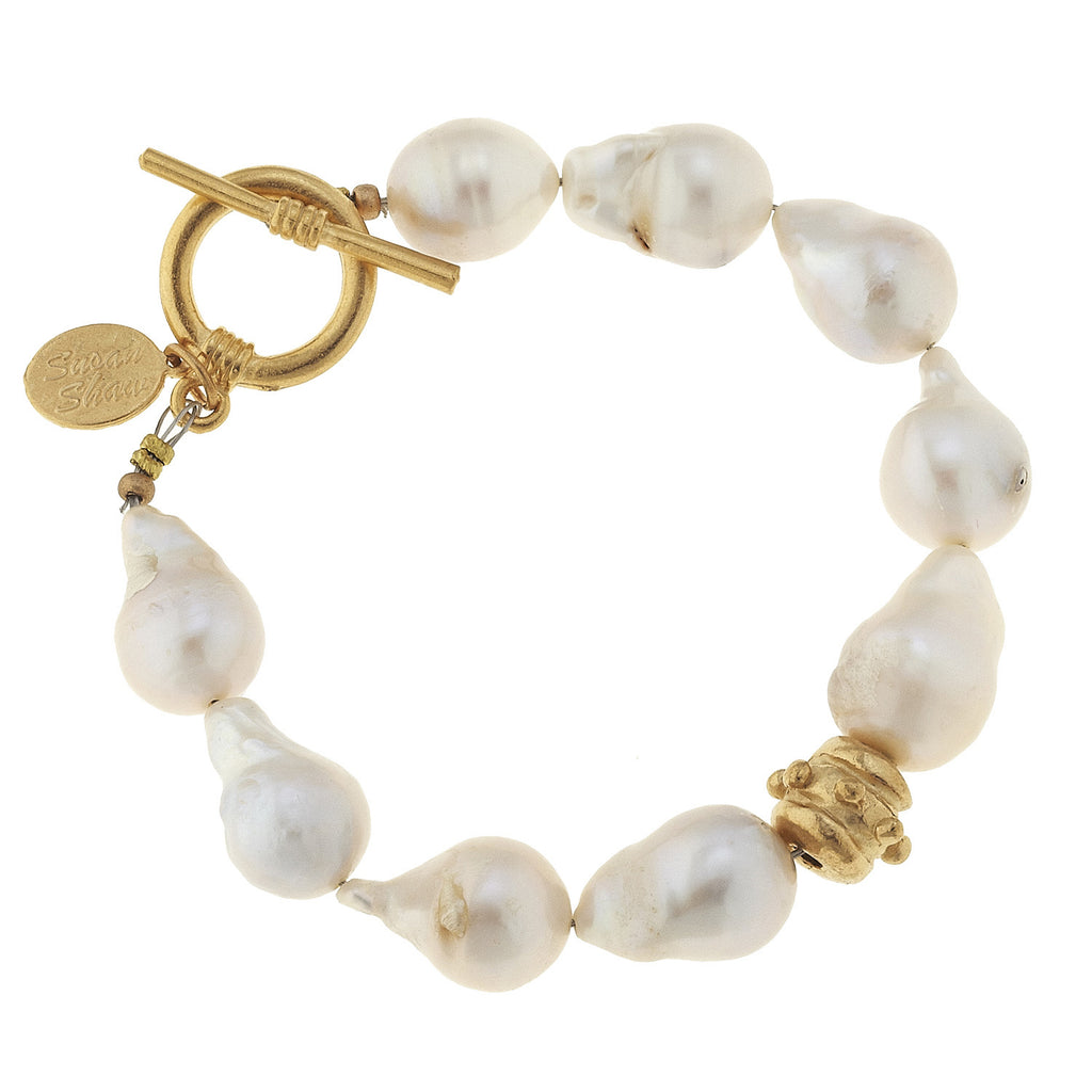 Susan Shaw Jewelry Pearl Bracelet, Large Baroque Freshwater Pearls in Gold