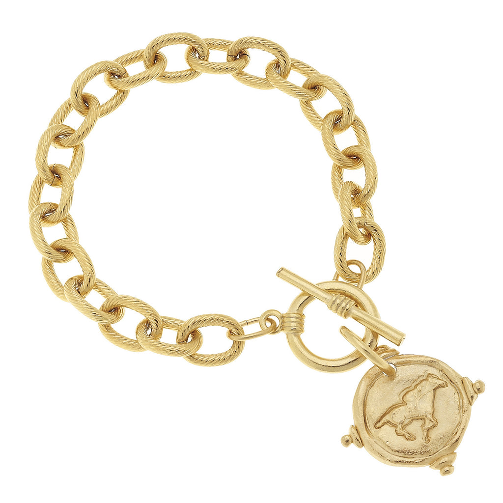 Susan Shaw Jewelry Racehorse Bracelet, Horse Charm in Gold
