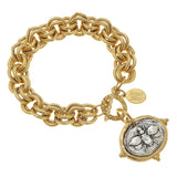 Susan Shaw Jewelry Handcast Bee Bracelet in Gold